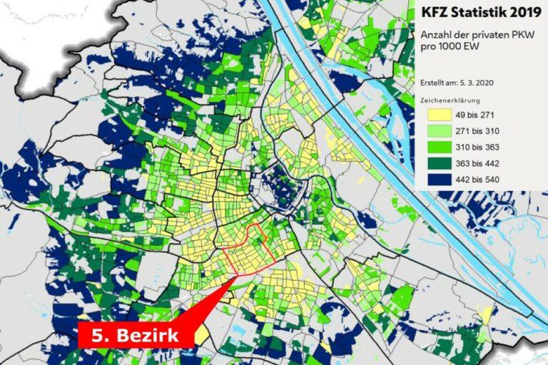 Karte mit Motorisierungsgrad in Wien, private PKW pro Einwohner, Statistik