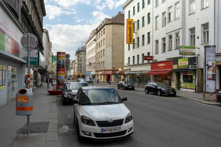 Reinprechtsdorfer Straße bei der Kreuzung Arbeitergasse, 5. Bezirk, Wien