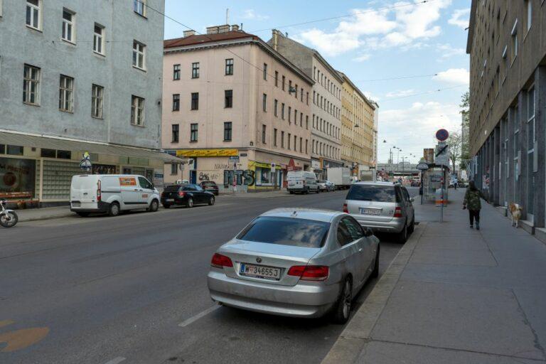 Reinprechtsdorfer Straße im 5. Bezirk in Wien, Autos, Fußgängerin, Hund