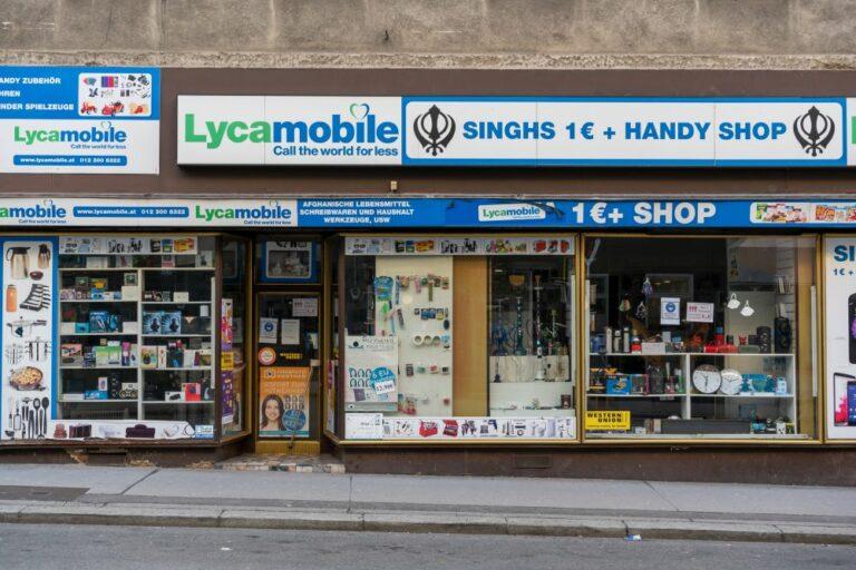 Handyshop, Geschäft auf der Reinprechtsdorfer Straße, Singhs 1€ + Handy Shop, Wien