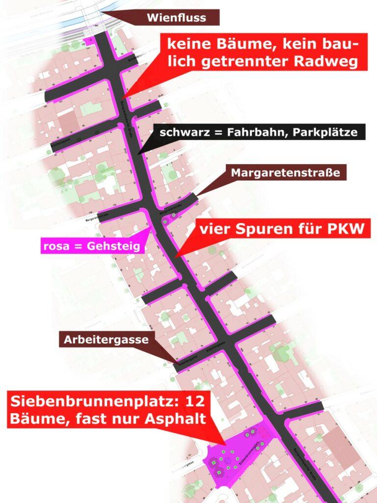 Verkehrsflächen auf der Reinprechtsdorfer Straße