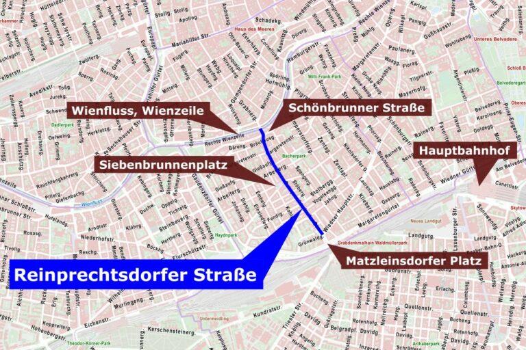 Stadtplan mit Reinprechtsdorfer Straße und Umgebung, Wien