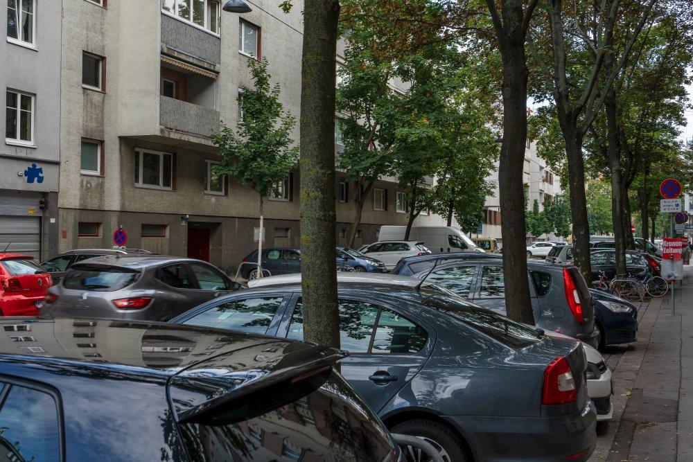 Straße in Kaisermühlen, Autos, Bäume, Häuser, 1220 Wien