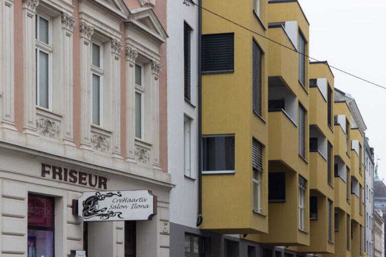 Neubau-Wohnhaus in Floridsdorf, Schwaigergasse, nahe dem Spitz, Neubau nach Abriss