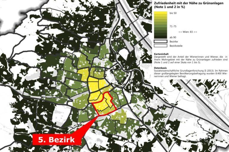 Karte, die die Zufriedenheit mit der Nähe zu Grünanlagen zeigt. Wien, Margareten, Statistik