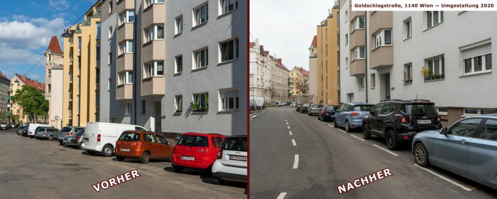 Goldschlagstraße in Wien-Penzing, vor und nach der Umgestaltung, zwischen Matznergasse und Missindorfstraße