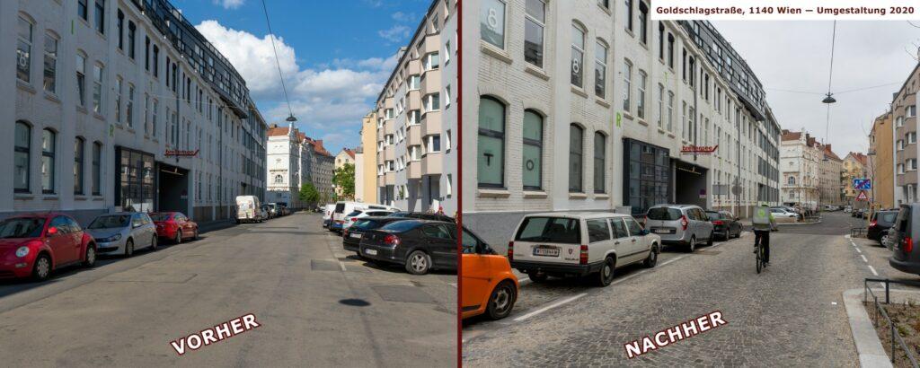 Goldschlagstraße in Wien-Penzing, vor und nach der Umgestaltung, zwischen Matznergasse und Missindorfstraße, Coole Straße