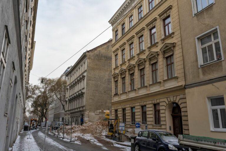 Krieglergasse mit Baulücke, Wien, Landstraße, Weißgerberviertel