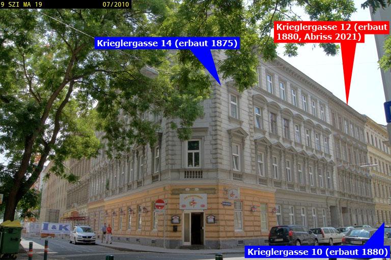 Gründerzeithäuser in Wien-Landstraße, Untere Weißgerberstraße, Krieglergasse