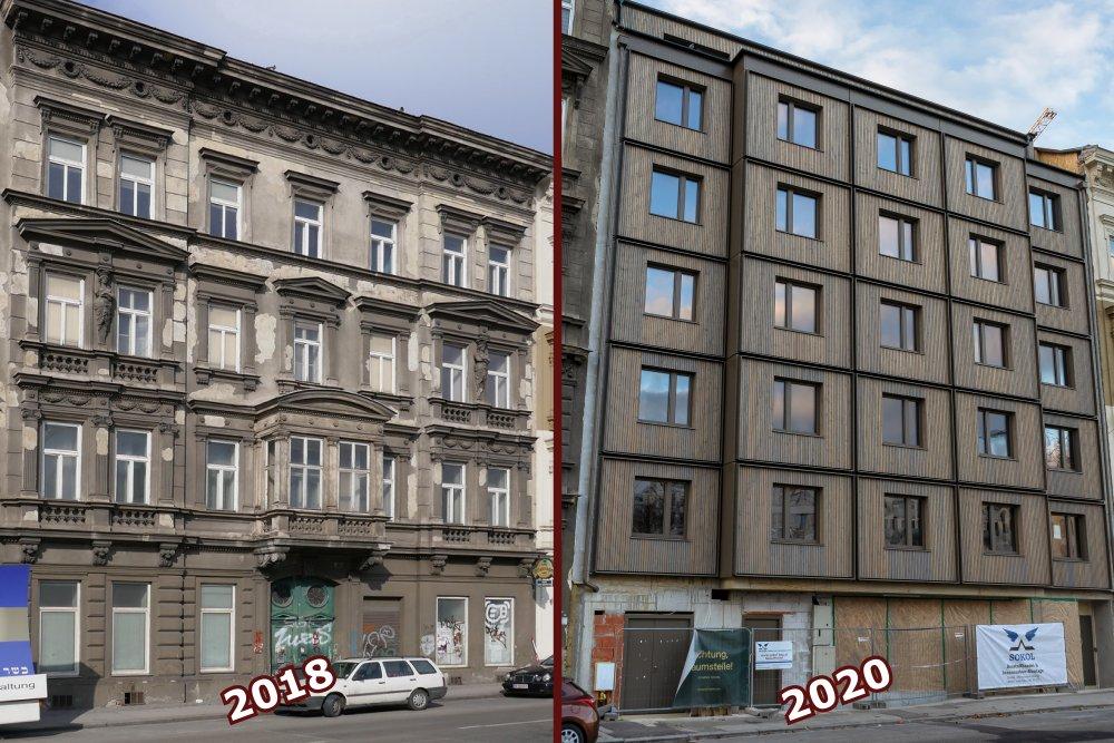 Altbau (abgerissen 2018) und Neubau (2020) am Mariahilfer Gürtel 33, 1150 Wien