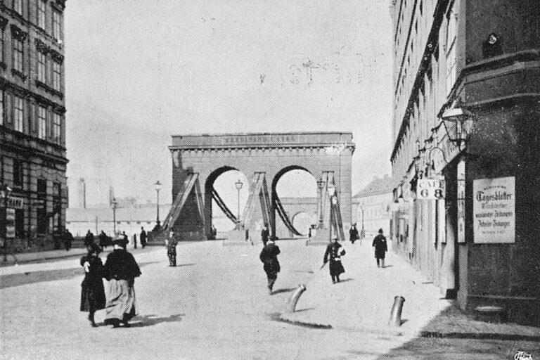 historische Fotoaufnahme der Franzensbrücke, Radetzkystraße, Donaukanal, Wien