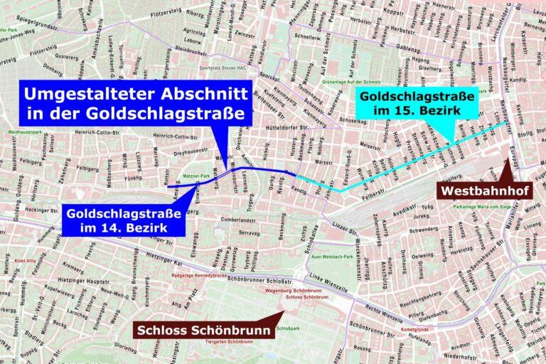 Karte, Stadtplan, Goldschlagstraße, 14. Bezirk, 15. Bezirk