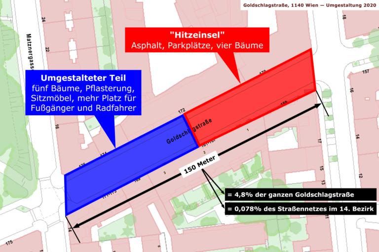 Karte der Goldschlagstraße zwischen Matznerpark/Matznergasse und Missindorfgasse, Wien-Penzing