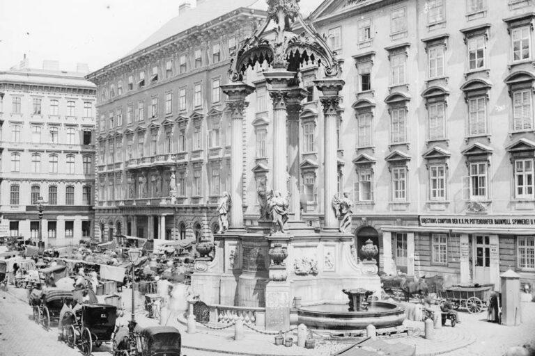 Markstände, Fuhrwerke, Hoher Markt, 19. Jahrhundert, Wien