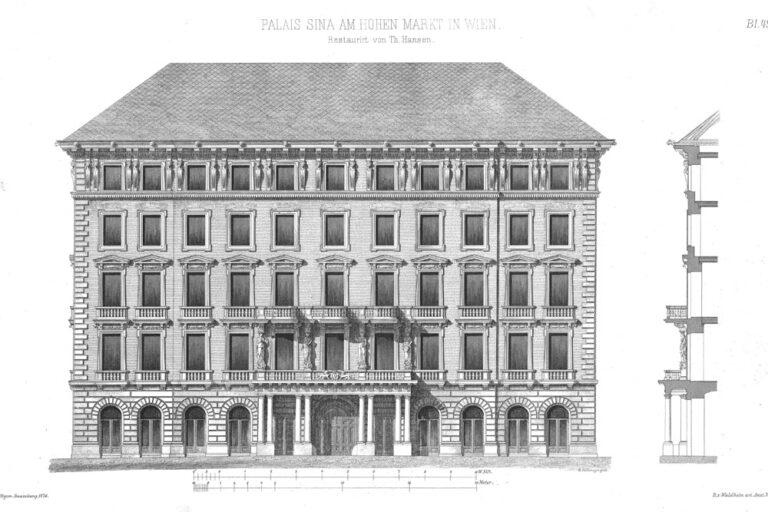 Zeichnung, Palais, Hoher Markt, Theophil Hansen, Wien