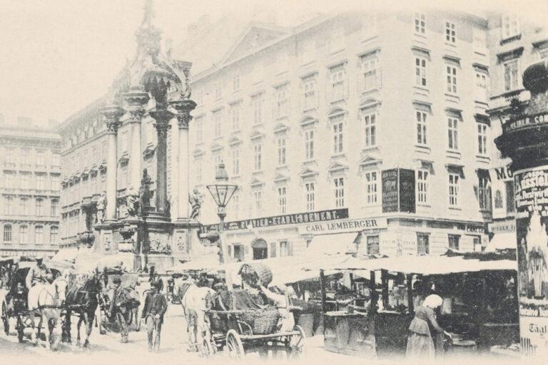 Marktstände und Fuhrwerke am Hohen Markt