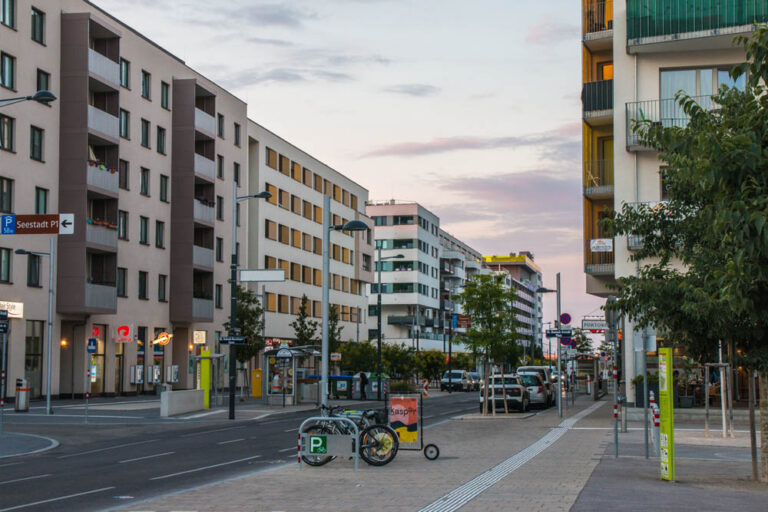 Maria-Tusch-Straße in der Seestadt Aspern (Foto: 2018, Johannes Maximilian / Wikimedia Commons)