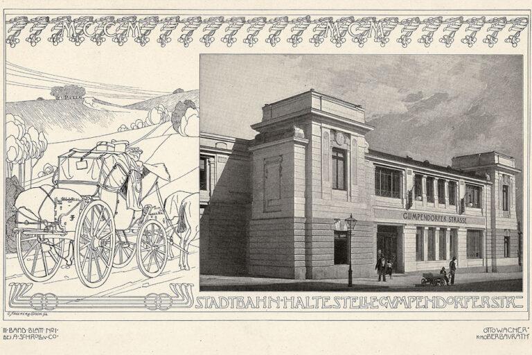 Stadtbahn Haltestelle Gumpendorfer Straße, Otto Wagner, Zeichnung