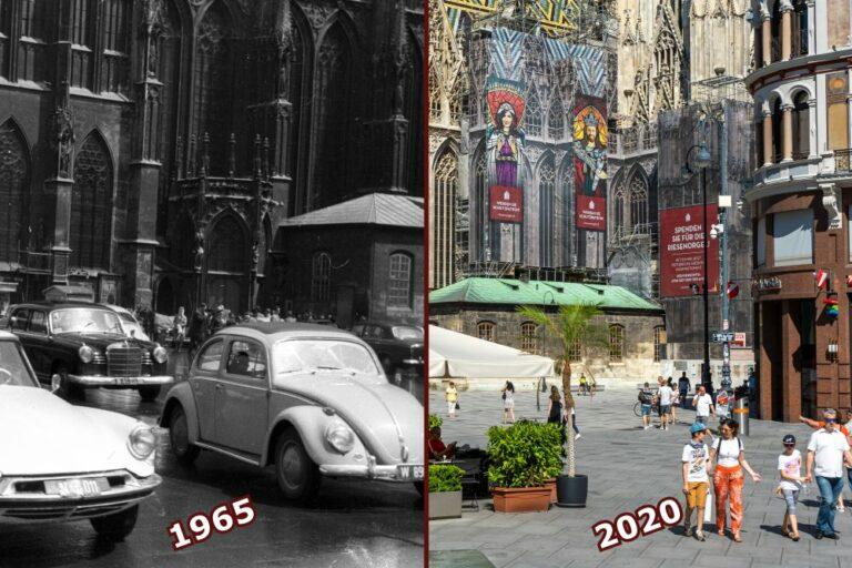 Stephansplatz mit Autos und mit Fußgängerzone, Wien