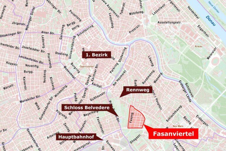 Karte, Wien, Fasanviertel