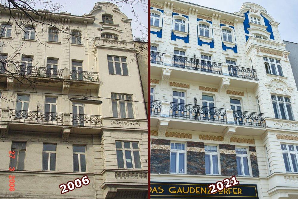 Fassade, Altbau, vorher-nachher, Sanierung, Meidling, Wien