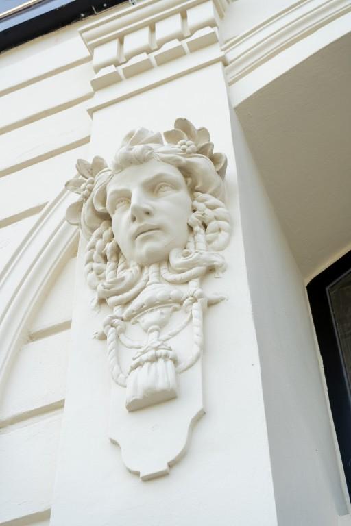 Stuck, Fassadendekor, Kopf, Historismus, Meidling, Wien