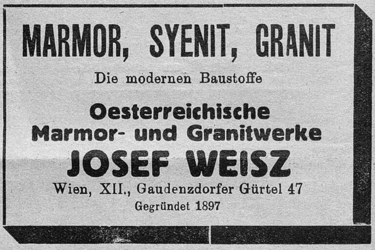 Zeitungsanzeige, Marmor, Syenit, Granit, Josef Weisz, Gaudenzdorfer Gürtel 47