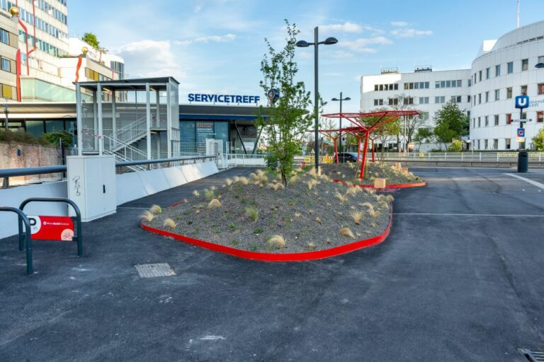 Bäume, Begrünung, Asphalt, Spittelau, Wien Energie