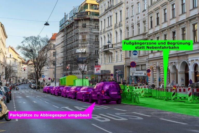 Burggasse, Grafik zum Umbau der Nebenfahrbahn im Jahr 2020, Wien-Neubau