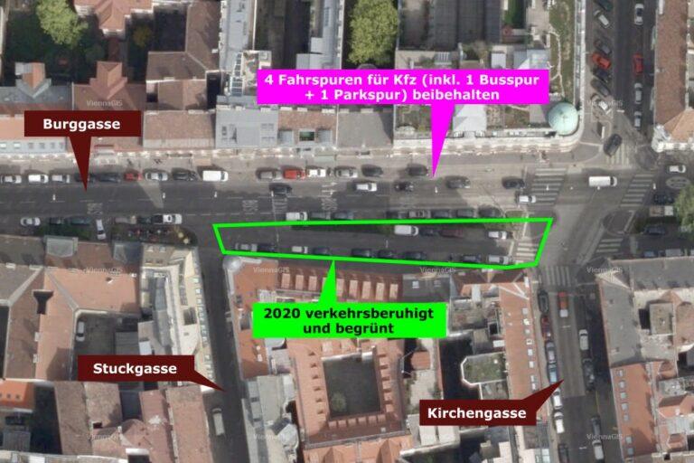 Luftbild von der Burggasse, heute Ruth-Klüger-Platz, 1070 Wien