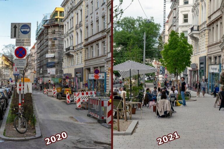 Ruth-Klüger-Platz, vor und nach der Umgestaltung