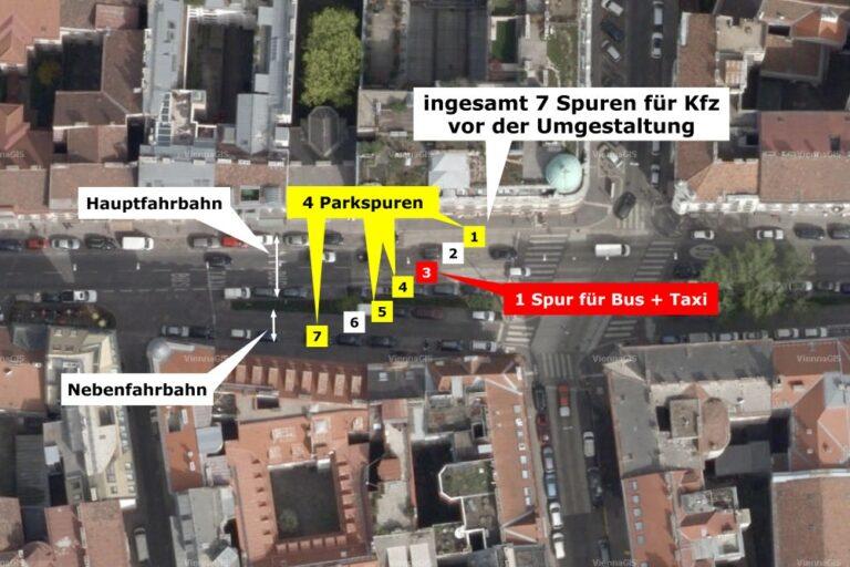 Luftbild von der Burggasse, heute Ruth-Klüger-Platz, 7 Spuren für Kfz vor der Umgestaltung (4 Parkspuren, 1 für Taxi/Bus, 2 Fahrspuren)