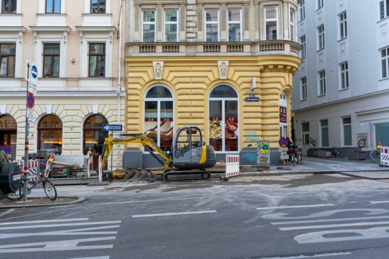 Straßenbauarbeiten in der Burggasse, Stuckgasse
