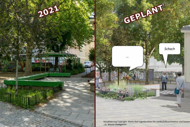 Kardinal-Nagl-Platz, Foto von 2021 und Visualisierung der geplanten Änderungen