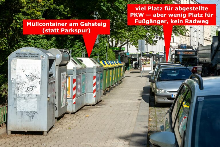 Müllcontainer am Gehsteig, parkende Autos, Kardinal-Nagl-Platz, Erdbergstraße
