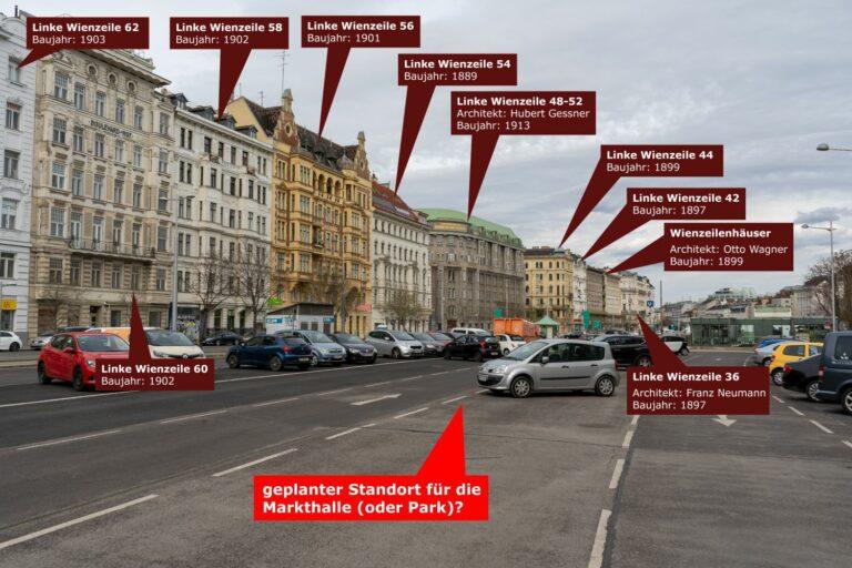 historische Gebäude an der Linken Wienzeile, Mariahilf, Naschmarkt, Wien