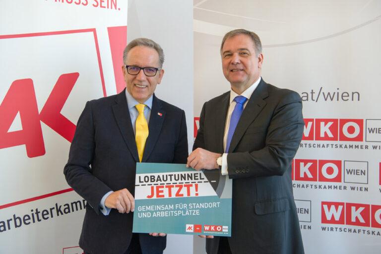 Rudi Kaske (Arbeiterkammer) und Walter Ruck (Wirtschaftskammer) forderten 2017 den Bau des Lobautunnels (Foto: AK Wien)