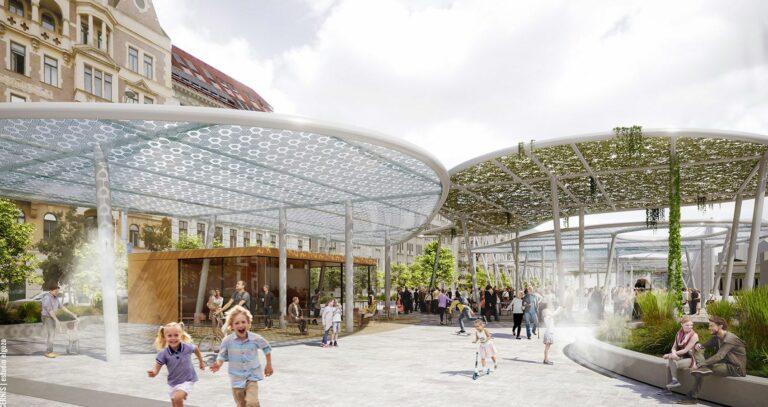 Visualisierung, Markthalle, Dächer, Begrünung, Naschmarkt-Parkplatz