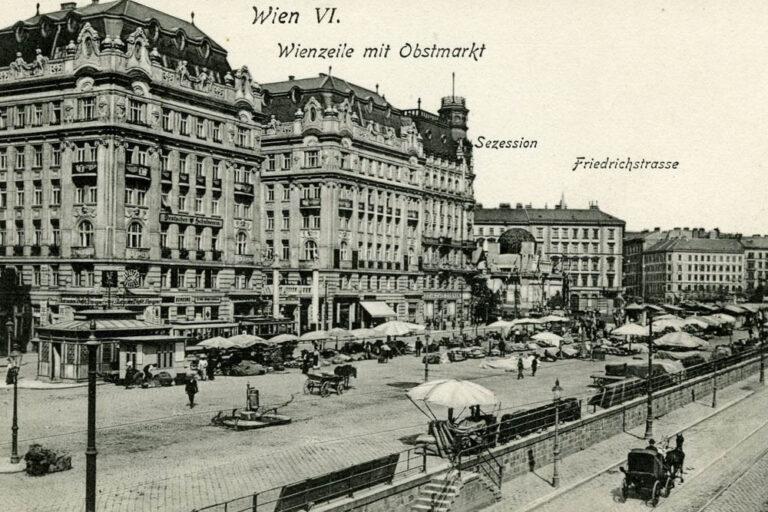Linke Wienzeile und Naschmarkt im Jahr 1908
