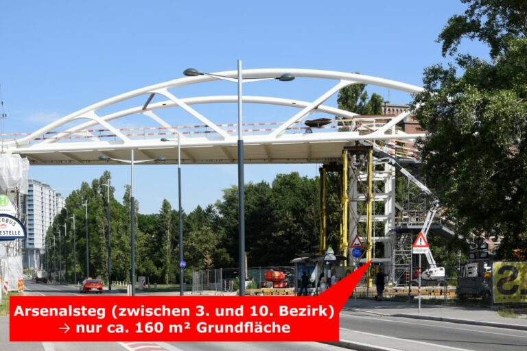 Brücke über die Arsenalstraße zwischen den Bezirken Landstraße und Favoriten