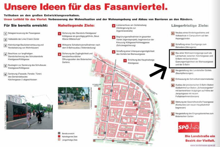 """Werbung der SPÖ, """"Unsere Ideen für das Fasanviertel"""""""