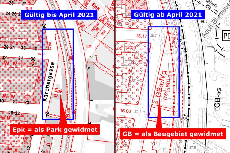 Bebauungsplan, Fasanviertel, Kärchergasse, vor und nach der Umwidmung