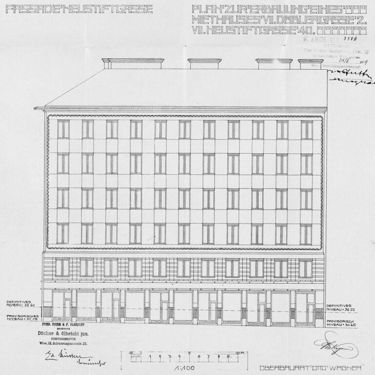 Plan des Wohnhauses Neustiftgasse 40 von Otto Wagner