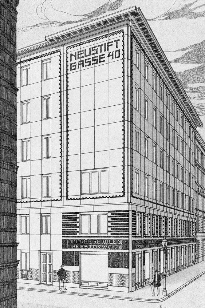 Skizze des Wohnhauses Neustiftgasse 40 von Otto Wagner