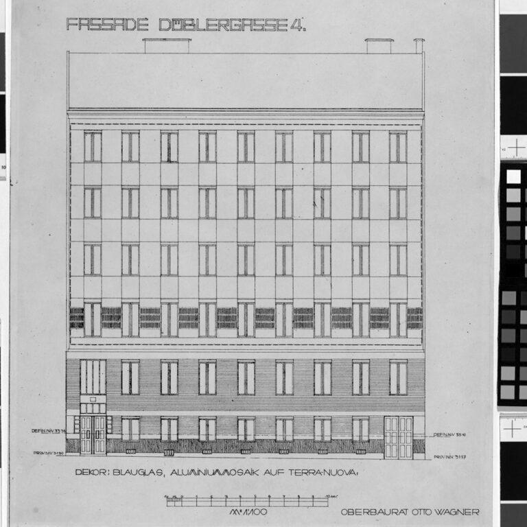 Plan der Fassade des Wohnhauses Döblergasse 4 von Otto Wagner, 1070 Wien