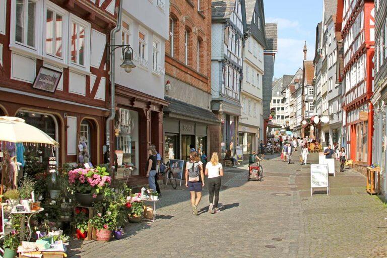 Verkehrsberuhigung, Fußgängerzone, Marburg, Deutschland