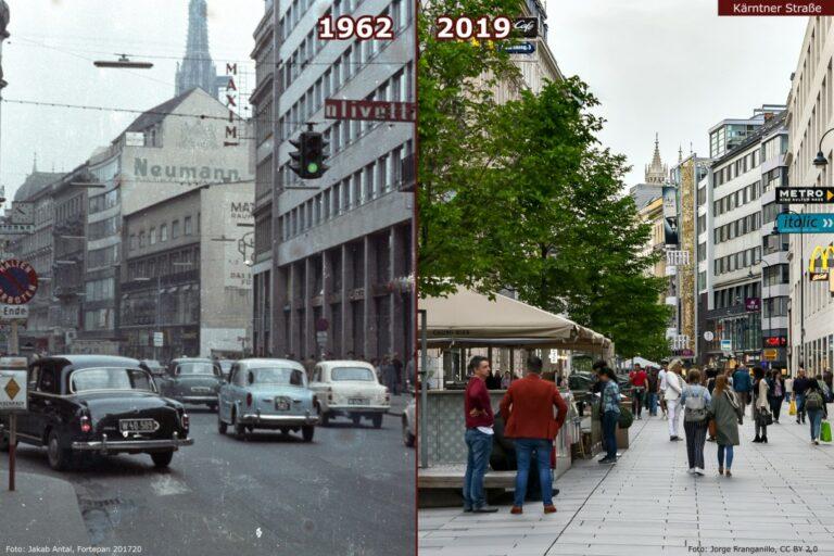 Verkehrsberuhigung, Kärntner Straße, Autostraße vs. Fußgängerzone, Wien