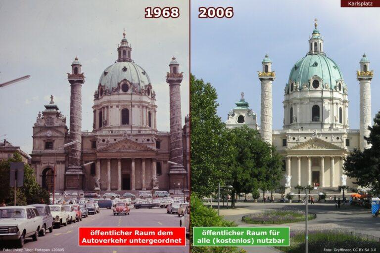 Karlskirche, Karlsplatz früher und heute, Wien