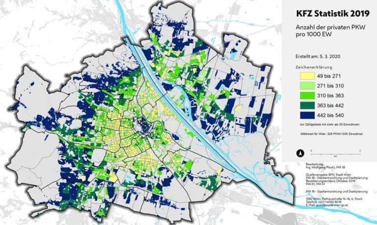 Kfz-Statistik, Wien, Karte, Anzahl der privaten PKW pro 1000 EW