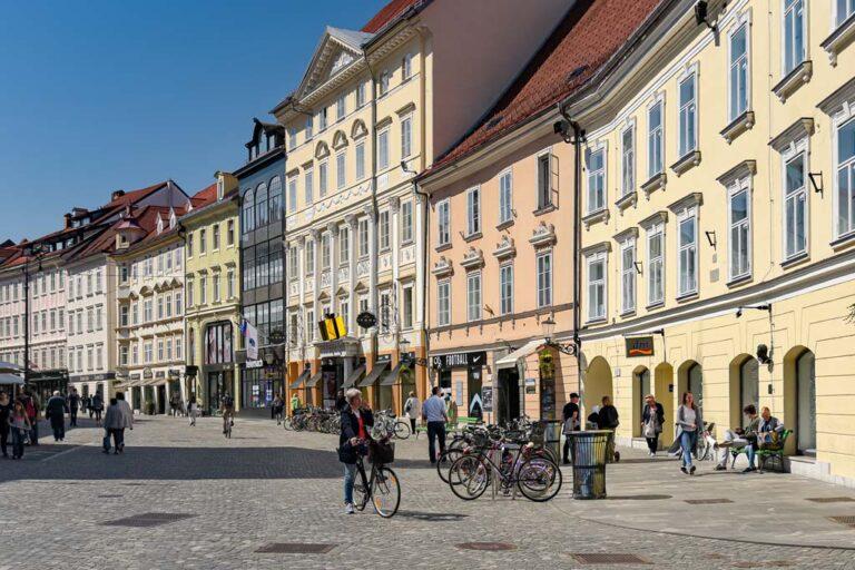 Fußgängerzone in Ljubljana (Laibach) in Slowenien